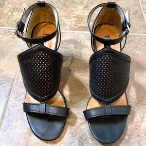 Open Toe Black Sandal Block Heel